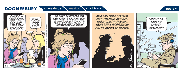 Doonesbury comic about twitter