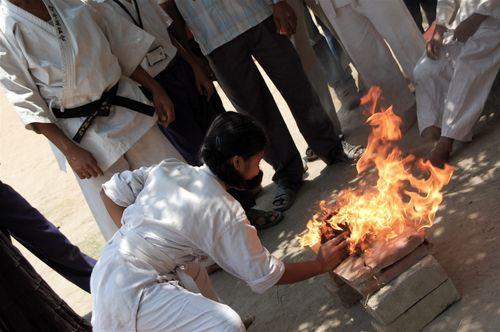 Bricks on fire, karate chopped