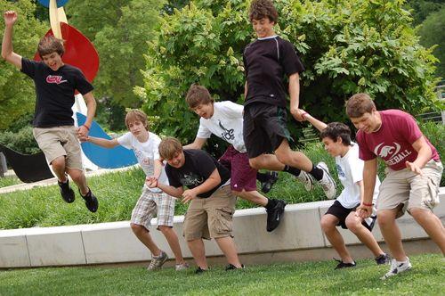 Teenage boys goofing off