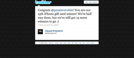 @squarespace 's tweet about my win!!