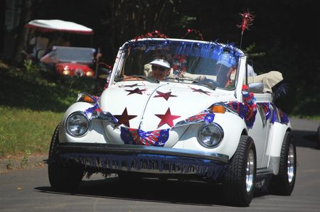 white convertible VW on July 4th