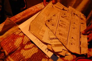 dress patterns cut out from newspapers, Calcutta, Compassion International