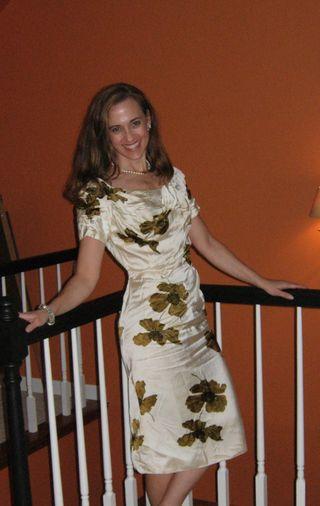 60s vintage satin floral dress