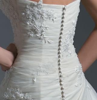 Back of wedding dress buttons
