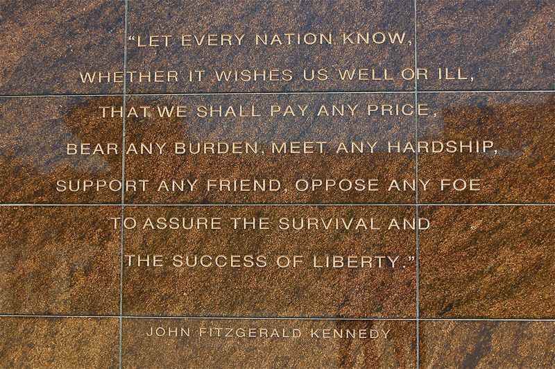 JFK inscription on Veterans Memorial, Soldier Field Chicago