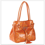 Croco-embossed orange tote