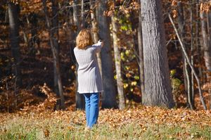 Robin shooting a .22 pistol