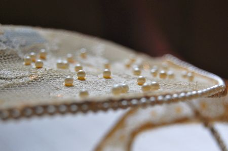 Pearls on wedding veil