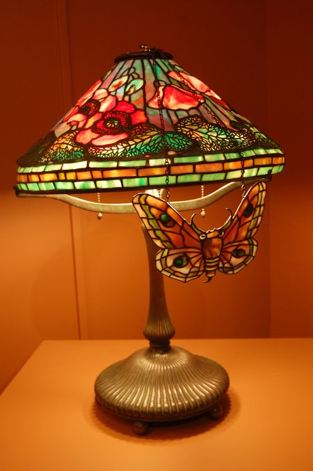 Tiffany peony reading lamp with moth screen
