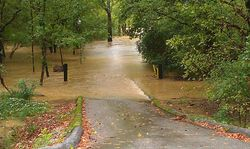 Road flooded in Chattanooga, September 2011