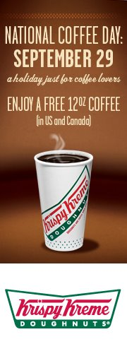 Krispy Kreme ~ Free coffee on September 29, 2011