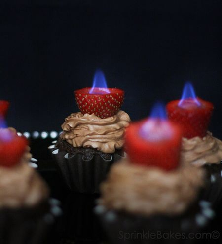 Cupcakes with flaming strawberries