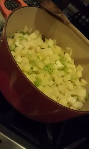 Sauteeing diced potatoes, celery & onions