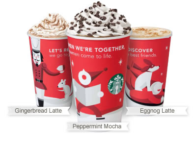 Starbucks winter drinks ~ Peppermint Mocha, Gingerbread Latte and Eggnog Latte