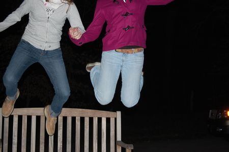 Friends jumping for joy