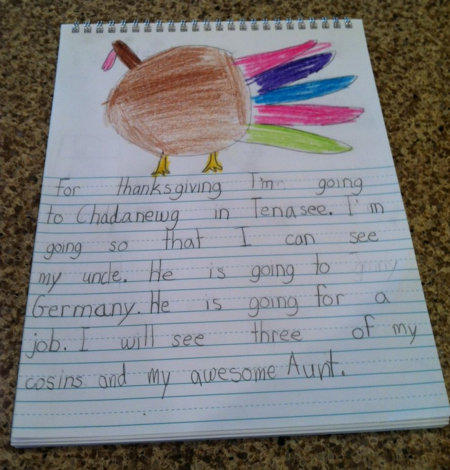 Child's journal entry