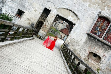 Traveling Red Dress in Europe.