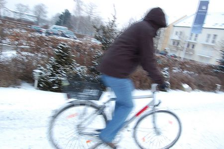 Riding bike in snow in Germany