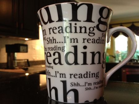 """Shh..I'm reading"" coffee mug"