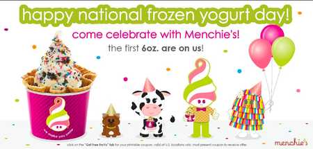 National Frozen Yogurt Day-Free Menchies
