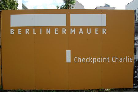 Outdoor exhibition of Berliner Mauer at Checkpoint Charlie