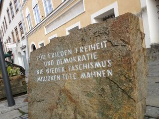 Memorial Stone Against War and Fascism ~ Hitler's birthplace in Braunau, Austria
