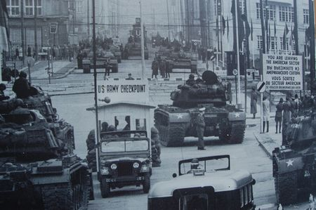 Faceoff of American and Soviet tanks at Checkpoint Charlie