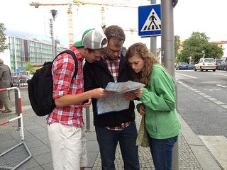 Studying map in Berlin