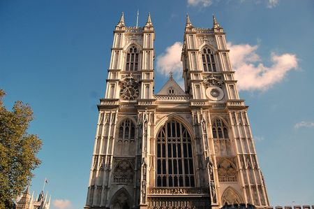 Westminster Abbey - London - blue sky and clouds