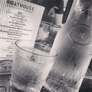 chilled water & menu from the BoatHouse menu